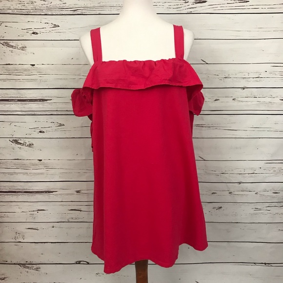 Zara Dresses & Skirts - Zara Cold Shoulder Ruffled Dress Pink Size Small